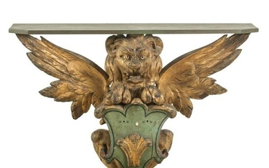 Antique 19th Cen. Carved Winged Lion Console Table