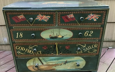Antique Chest of Drawers w Captains Motif Painting