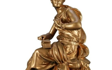 Antique French Gilt Bronze Sculpture of Classical Woman