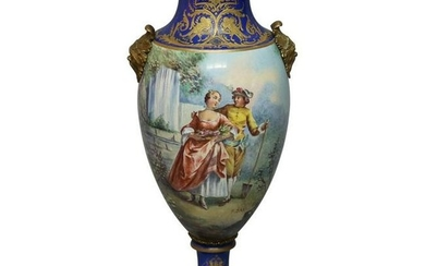 Antique French Sevres School Painted and Gilt Urn