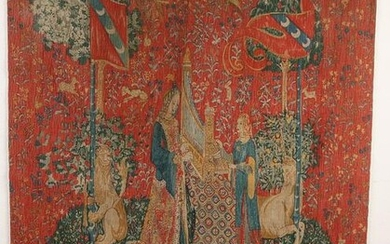 Antique French tapestry tapestry Marked JL Jean