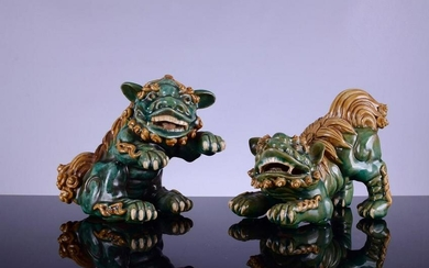 Antique Glazed Turquoise-Green Ceramic Shiwan Foo Dogs