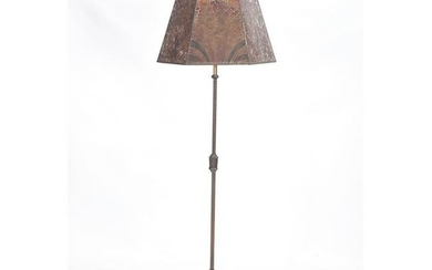 Art Deco Iron Floor Lamp with Painted Mica Shade.
