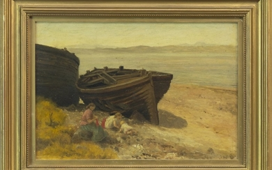 BEACHED BOAT WITH FIGURES, AN OIL BY