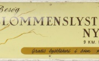 """Blommenslyst nye fuglepark"". A 20th century concave painted metal signboard. H. 29. W. 159 cm."