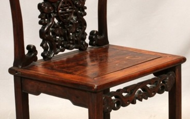 CHINESE CARVED TEAKWOOD SIDE CHAIR 35 21 16