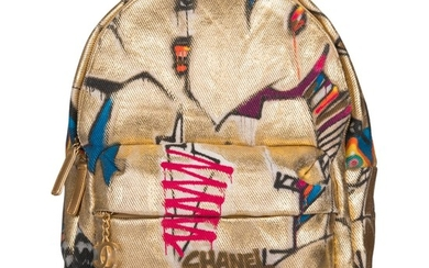 """Chanel Gold Graffiti Printed """"Street Spirit"""" Backpack of Canvas with Gold Tone Hardware"""
