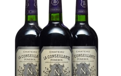 Château La Conseillante 2002, Pomerol Slightly bin-soiled labels Levels into neck **By placing a bid on this lot, you confirm that you are at least 21 years of age.