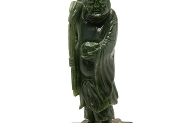 Chinese Spinach Jade Carving of an Immortal