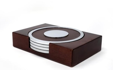 Chrome, Leather, and Wood Coasters - Set of Four