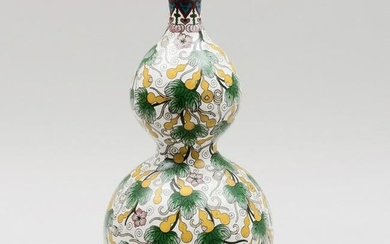 Cloisonné Double Gourd Vase Mounted as Lamp