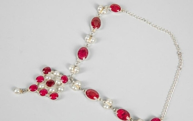 Collectible Art Deco Sterling Silver & Ruby Necklace