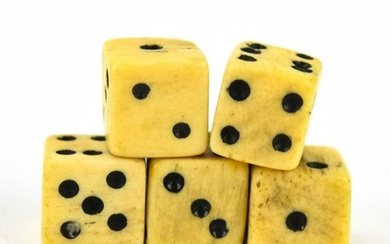 Collection of 5 Antique Miniature Carved Bone Dice