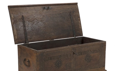 NOT SOLD. A Danish rural Baroque oakwood chest. Front carved with owner's name (Reimer Sift)...