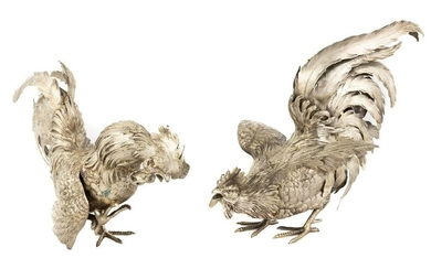 Continental Sterling Silver Table Roosters