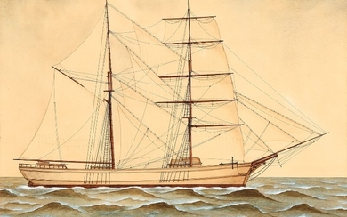 """Danish school, 19th century: A ship's portrait of """"Johan"""". Unsigned. Gouache, watercolour and drawing ink on paper laid on paper."""