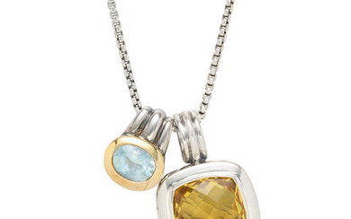 David Yurman: Sterling Silver and Lemon Quartz Pendant Necklace Together With a Sterling Silver, Gold and Blue Topaz Pendant
