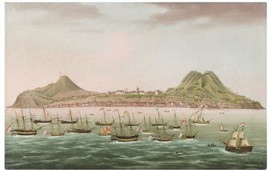 Dutch School, late 18th Century, Sint Eustatius in the Dutch Antilles, with West Indiamen massed in the road off Oranjestad