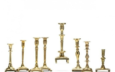 Eight 18th Century Spanish Brass Candlesticks
