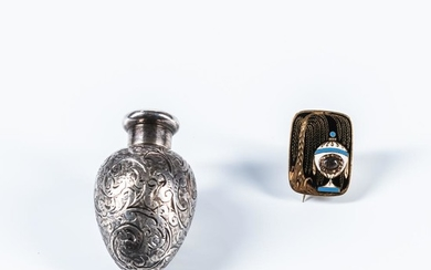 Enamel and Gold Mourning Brooch and Silver Perfume