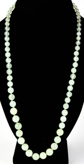 Estate Chinese Yellow Gold & Green Jade Necklace