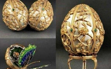 FABERGE 24KT GOLD OVER STERLING SILVER BUTTERFLY EGG