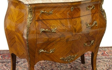 FRENCH LOUIS XV STYLE MARBLE-TOP MARQUETRY COMMODE