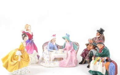 Five Royal Doulton figurines.