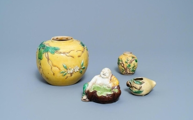 Four Chinese verte biscuit wares, 19/20th C.