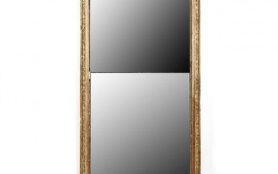 French Empire Carved and Gilt Double Plate Wall Mirror
