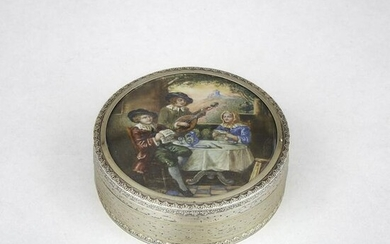 French Silver Parcel-Gilt Circular Box with Inset