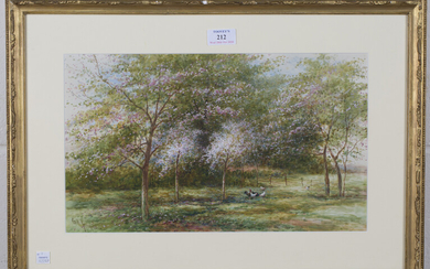 G.H. Jenkins - 'Maytime in the Orchard, Apple Blossom', late 19th century watercolour with