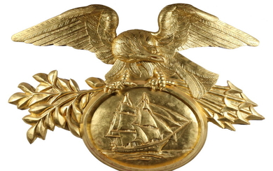 GILT CARVED EAGLE AND SHIP PLAQUE, THE AMERICAN MARINE MODEL CO., SALEM, MASS.