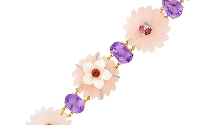 Gold, Carved Rose Quartz and Mother-of-Pearl, Amethyst, Pink Tourmaline and Diamond Bracelet
