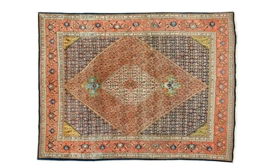 Important and rather fine Tabriz (North West of Persia) middle XX Dimensions. 322 x 244 cm Technical specifications. Wool velvet on cotton foundations Good condition Night blue field with motives said. Herati decorated with a central floral medallion...