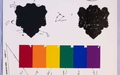 """JIM DINE (AMER, B. 1935), SILKSCREEN IN COLORS ON WOVE PAPER, 1965, H 40"""" W 25"""", ART IN SCIENCE"""