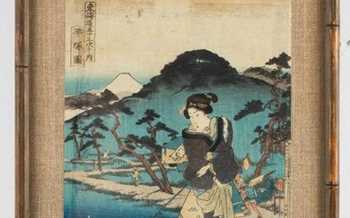 Japanese Woodblock Print, Geisha w Dogs