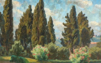 Johannes Wilhjelm: View from a park over Florence. Signed and dated JW 24. Oil on canvas. 50×65 cm.