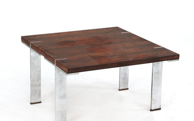 NOT SOLD. Johanson Design: Coffee table with steel legs. Top and shoes of rosewood. H....