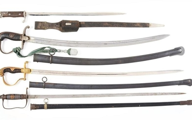 LOT OF 4: GERMAN MILITARY SWORDS AND BAYONET.