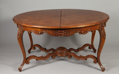 LOUIS XV STYLE FRUITWOOD PARQUETRY CIRCULAR-TOP DINING TABLE WITH ONE...