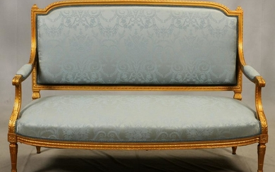LOUIS XVI, CARVED GILT WOOD SETTEE