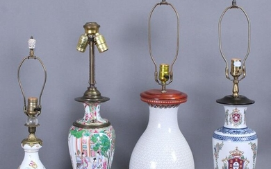 Lamp: Porcelain Vase Lamps (four)