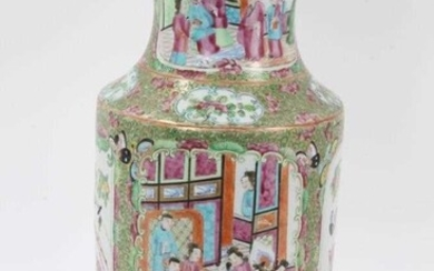 Large 19th century Chinese Canton Famille Rose vase decorated with panels of birds, flowers and figures, 36cm in overall height
