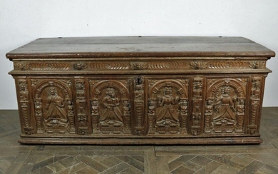 Large, richly carved, moulded oak chest.