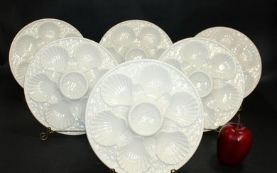 Lot of 6 French Longchamp oyster plates