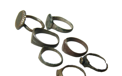Lot of 6 ancient - Medieval rings, and one more modern