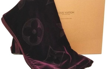 Louis Vuitton Rare Purple Velvet Shawl Scarf with Box