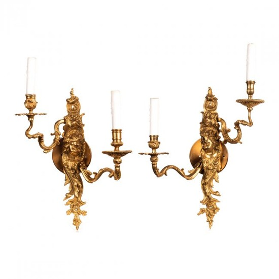 Louis XV Style Gilt Bronze Two-Light Wall Sconces