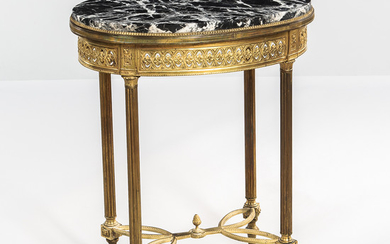 Louis XVI-style Marble-top Gilt-bronze Oval Table